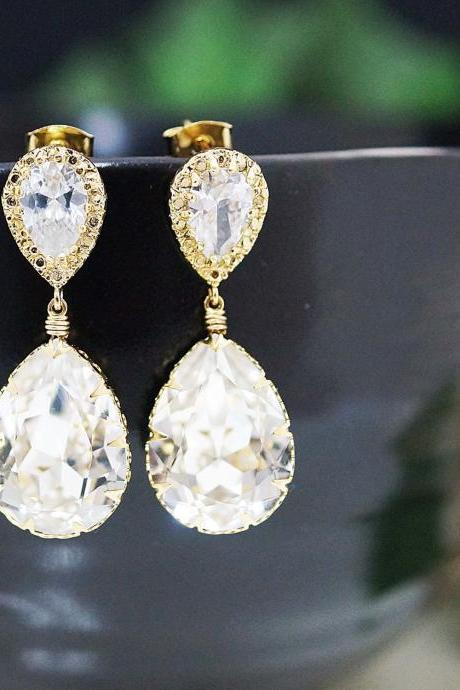 Bridal Earrings Bridesmaid Earrings Gold plated Cubic zirconia earrings with Clear White Swarovski Crystal Tear drops