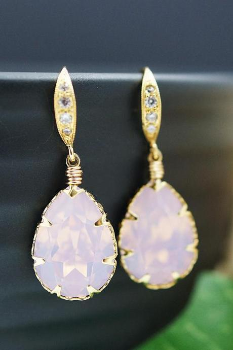 Wedding Bridal Earrings Bridesmaid Earrings Rose Water Opal Swarovski Crystal drop dangle Earrings