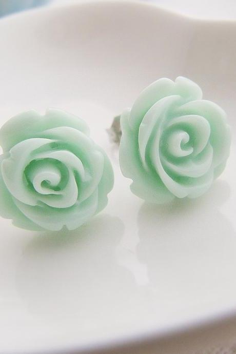 Light Mint Green Rose Cabochon Ear Studs