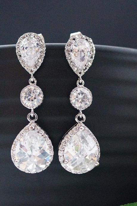 Wedding Bridal Jewelry Bridal Earrings Dangle Earrings cubic zirconia connectors and clear white (LUX) cubic zirconia tear drop Earrings