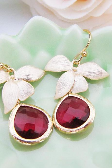 Matte Gold flower and Red Ruby Glass Drop Earrings . For Her. Gift for Her. Bridesmaid Earrings