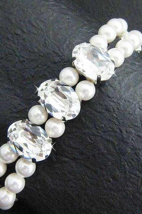 Wedding Jewelry Clear Swarovski Oval Crystals with 2 strands of Crystal White Swarovski Pearls Bridal Bridesmaid Bracelet