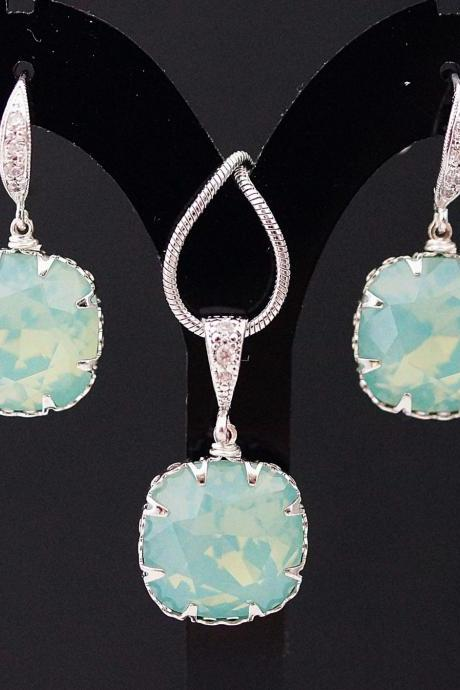 Wedding Bridal Jewelry Bridesmaid Necklace Bridesmaid Earrings Mint Pacific Opal Swarovski square Crystal drop dangle Jewelry set