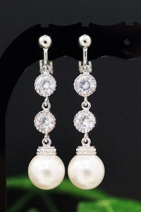 Weddings Bridesmaid Gift Bridal Jewelry Bridal Earrings Bridesmaid Earrings Swarovski Pearls and CZ connectors drop dangle Clip On earrings