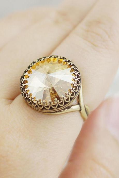 Vintage Style Golden Shadow Swarovski Rivoli Ring Adjustable Ring Best Friend Gift Bridesmaid Gifts Jewelry Vintage Style Ring
