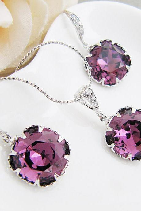 Bridal Necklace Bridal Earrings Amethyst Swarovski Crystal Square drops Bridal Jewelry set