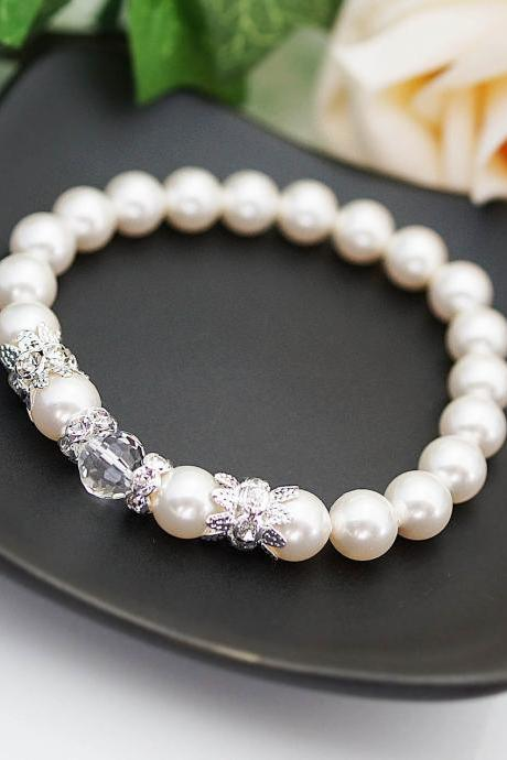 Wedding Jewelry Bridal Bracelet Bridesmaid Bracelet Crystal White Swarovski Pearls with rhinestone rondelles Flower girl Bracelet