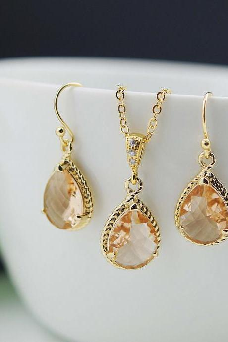 Wedding Jewelry Bridesmaid Jewelry Bridesmaid Earrings Bridal Jewelry Peach Gold Trimmed Pear Cut Bridesmaid gift