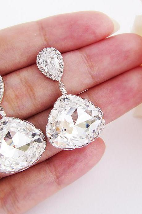 Bridal Earrings Bridesmaid Earrings Matte Rodium plated Cubic zirconia earrings with Clear White Swarovski Crystal Triangle drops