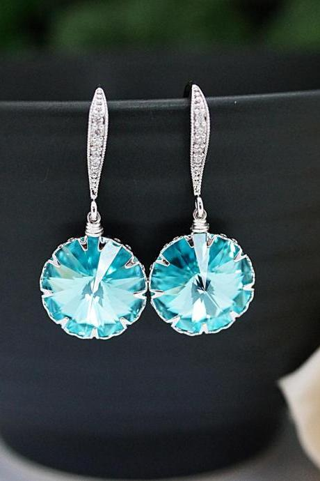 Wedding Jewelry Bridesmaid Jewelry Bridal Earrings Bridesmaid Earrings Dangle Earrings Light Turquoise Swarovski round Crystal drop Earrings