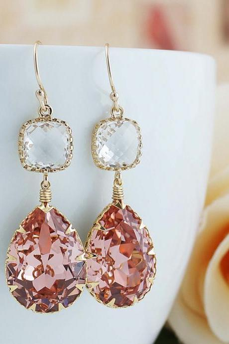 Vintage Rose Peach Swarovski Crystal GOLD FILLED Dangle Earrings Christmas gift Peach Weddings Bridesmaid Jewelry Bridesmaid Gift