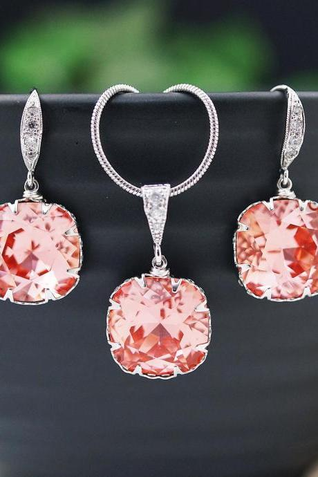 Bridesmaid gifts Bridesmaid Earrings Cubic zirconia ear wires with Rose Peach Coral Swarovski Crystal Square drops dangle earrings