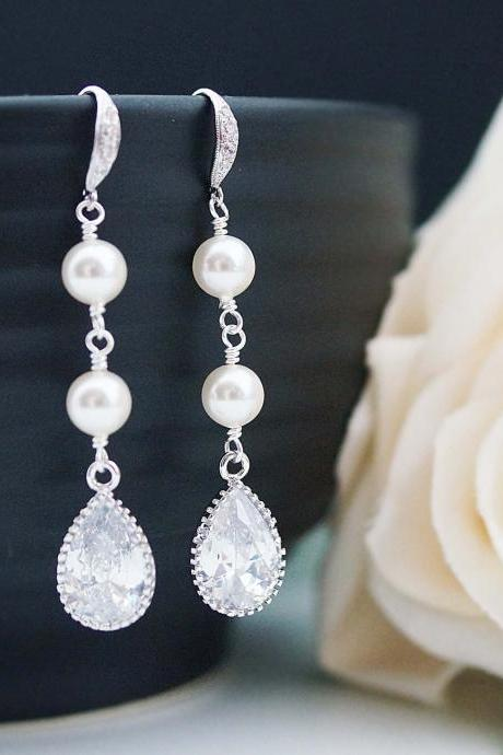 Wedding Bridal Jewelry Bridal Earrings Bridesmaid Earrings Dangle Earrings Cubic zirconia and Pearls Tear drops