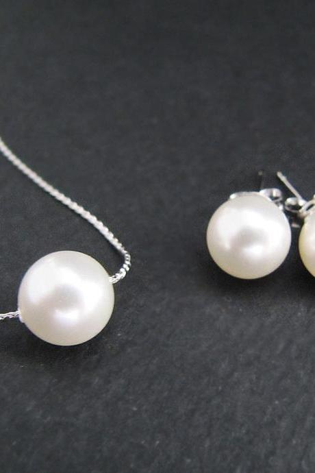 Sweet Crystal white Swarovski Pearls Ear Posts and Necklace Bridal Bridesmaid Jewelry Set