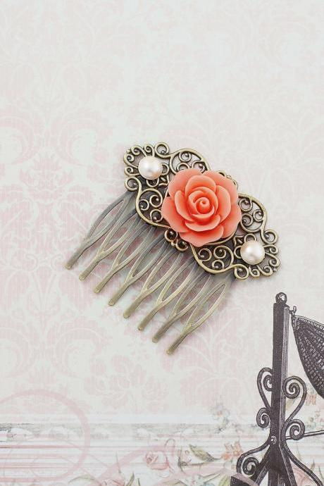 Wedding hair accessories Bridesmaids Gift Wedding Hair Comb Vintage Style Coral Rose Flower Bridal Hair Comb Bridal Hair accessories