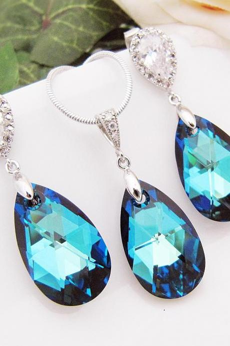 Something Blue Wedding Jewelry Bridal Jewelry Bridal Necklace Bridal Earrings (Large) bermuda blue Swarovski Crystal drops Bridesmaid Gifts