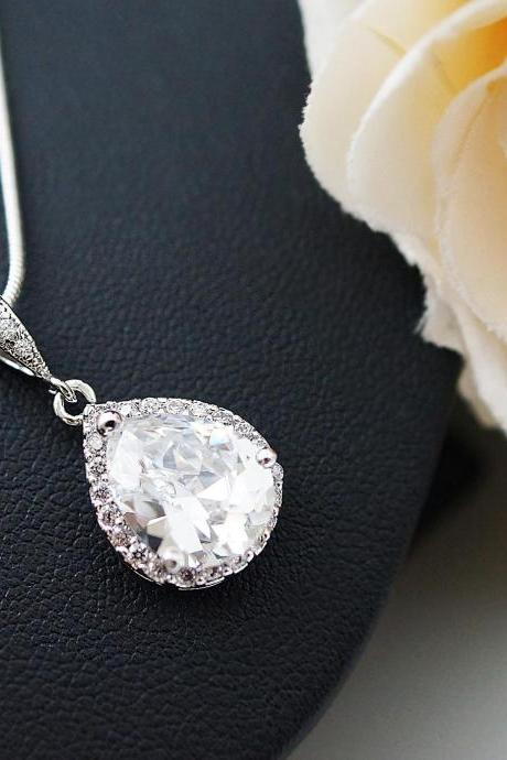 Wedding Jewelry Bridal Jewelry Bridal Necklace Clear White LUX Cubic Zirconia Tear drops Necklace