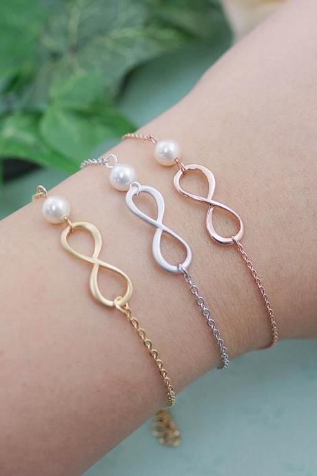 Infinity and Swarovski Pearl bracelet , infinity bracelet, bridesmaid gift, wedding jewelry, bridesmaid necklace, Bridesmaid Jewelry