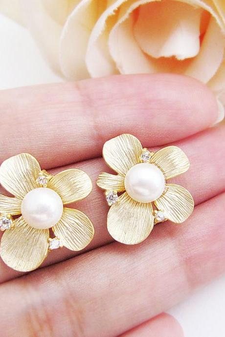 Bridal Earrings Bridesmaid Earrings - Beautiful Matte gold Flower with Cubic Zirconia Sterling Silver Ear posts and freshwater pearl