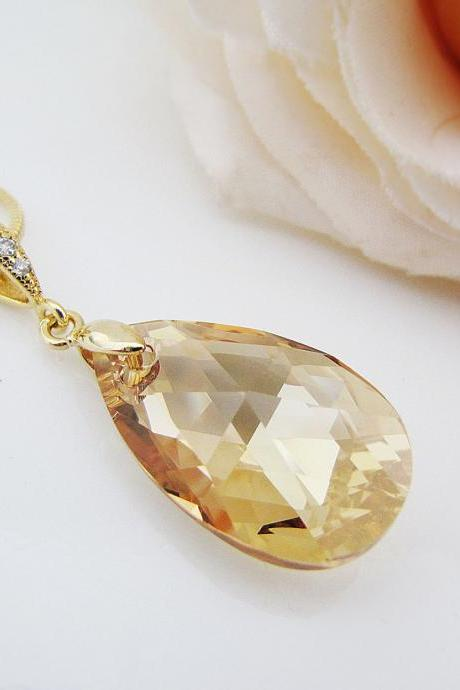 Wedding Jewelry Bridesmaid Jewelry Bridesmaid Necklace Cubic zirconia bail with Golden Shadow Swarovski Crystal Necklace