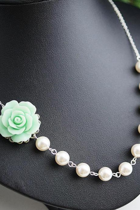 Wedding Jewelry Bridal Necklace Bridesmaid Necklace Bridesmaid Jewelry Mint Rose Flower Cabochon and Crystal White Swarovski Pearls