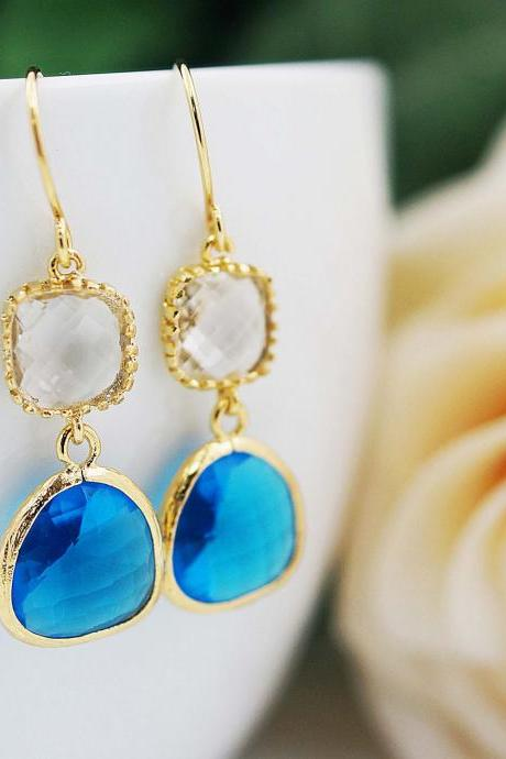 Wedding Jewelry Bridesmaid gift Bridesmaid Earrings Dangle Earrings Gold Framed clear white and Capri blue glass drop Earrings