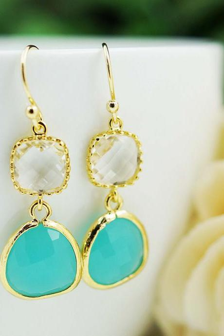 Wedding Jewelry Bridesmaid gift Bridesmaid Earrings Dangle Earrings Gold Framed clear white and mint opal glass drop Earrings