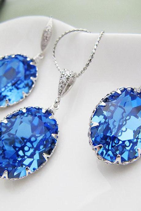 Wedding Bridal Jewelry Set Bridal Earrings Bridal Necklace Sapphire Swarovski Crystal Oval drops Bridal Jewelry Set