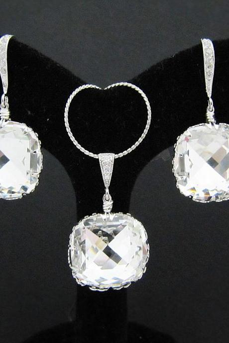 Bridal Necklace and Bridal Earrings Jewelry Set - Clear White Swarovski Crystal (Large) Classical Square drops