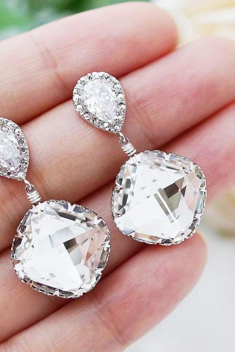 Wedding Jewelry Wedding Earrings Bridal Earrings Cubic Zirconia Ear Posts with Clear White Swarovski Crystal (Large) Square drops
