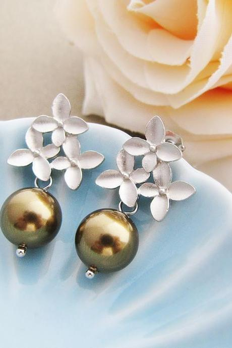Destiny - Matt silver plated flower ear posts with Antique Brass Swarovski Pearls