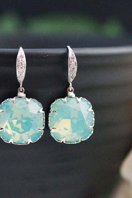 Bridesmaids Gift Wedding Bridal Earrings Bridesmaid Earrings Mint Pacific Opal Swarovski square Crystal drop dangle Earrings