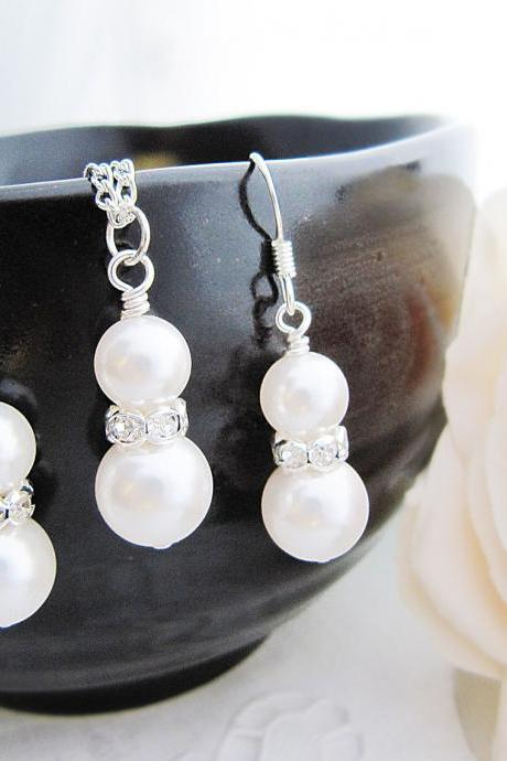 Bridal Earrings Bridal Necklace Sweet Crystal white Swarovski Pearls with rhinestone rondelles Bridal Jewelry Bridesmaid Gift