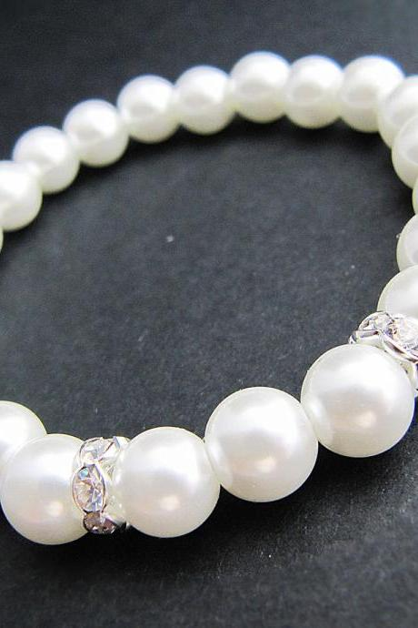 Wedding Bridal Bracelet Bridesmaid gift Bridesmaid Bracelet White Glass Pearls with rhinestone rondelles Flower girl Bracelet