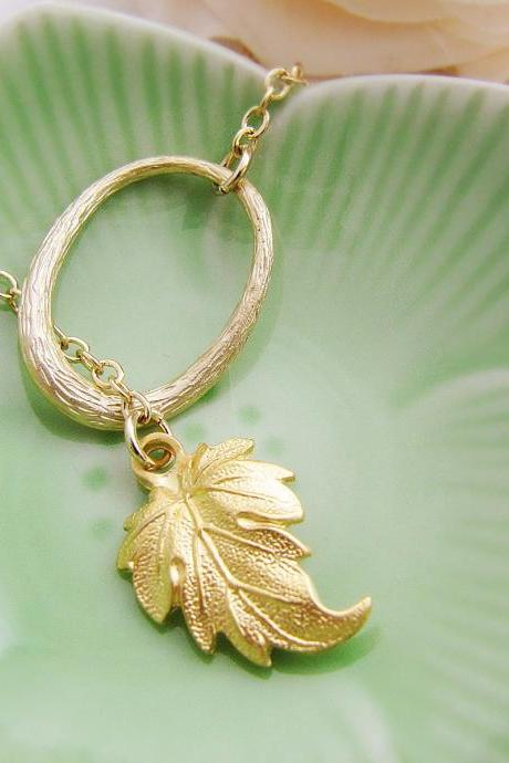 Golden Leaf - Matte gold leaf charm and oval ring Necklace. Gift For Her. Under 25