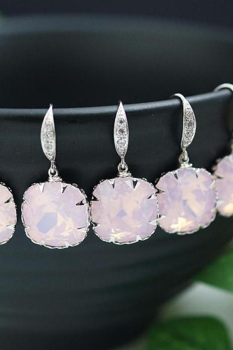 Bridesmaid Gifts Wedding Bridesmaid jewelry Bridesmaid Earrings Pale Pink Opal Rose Water Opal Swarovski square Crystal drop dangle Earrings