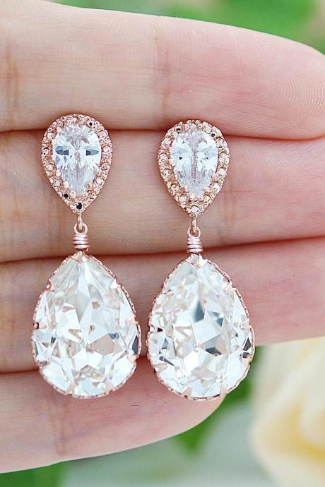 Wedding Jewelry Bridal Earrings Bridesmaid Earrings Dangle Earrings Rose Gold plated Clear White Swarovski Crystal Tear drop Earrings