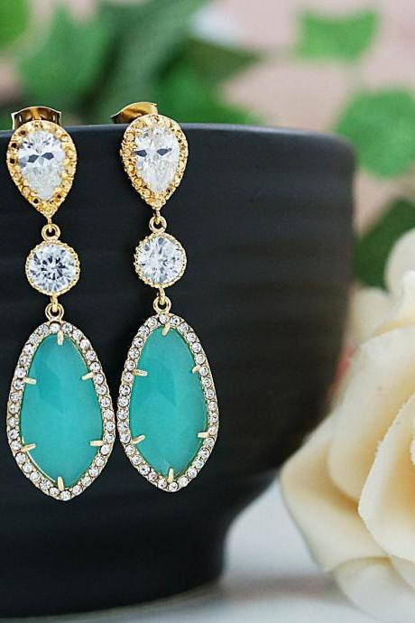 Wedding Jewelry Bridesmaids Gift Bridal Earrings Bridesmaid Earrings Dangle Earrings LUX Mint Opal glass with cubic zirconia drop Earrings