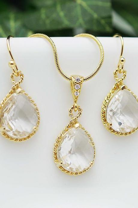 Wedding Jewelry Bridesmaid Jewelry Bridesmaid Earrings Bridesmaid Necklace Clear Glass Gold Trimmed Pear Cut Bridesmaid gift