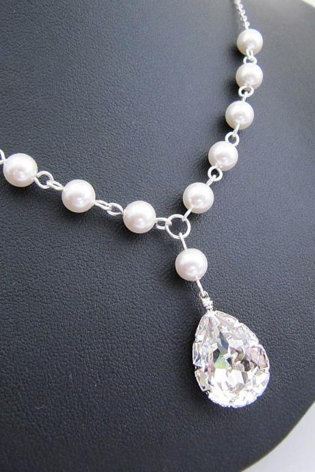 Wedding Bridal Jewelry Bridal Necklace - Crystal White Swarovski Pearls and Clear Swarovski Crystal Drop