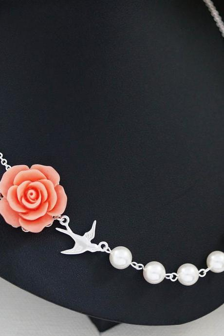 Bridesmaid Gifts Wedding Bridesmaid Jewelry Coral Rose Flower Cabochon and Crystal White Swarovski Pearls Bridal Necklace