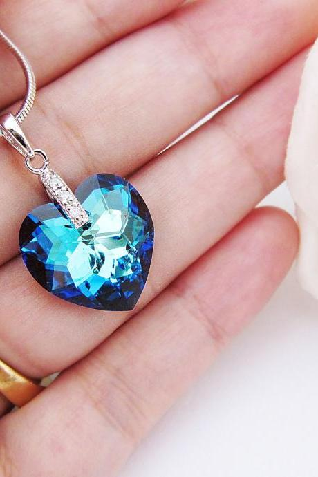 Wedding Jewelry Bridesmaid Necklace Bridal Necklace Cubic zirconia bail with bermuda blue Heart Swarovski Crystal Necklace Bridesmaid Gifts