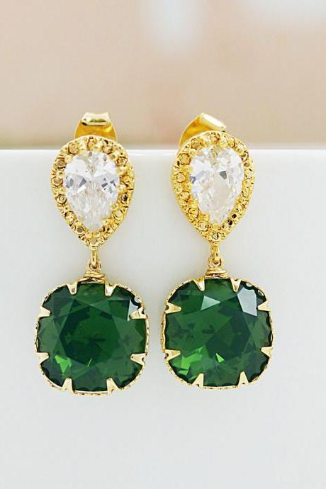 Bridesmaid gifts Bridesmaid Earrings Wedding Jewelry Palace Green Opal Swarovski Crystal Square drops dangle earrings Christmas Gift