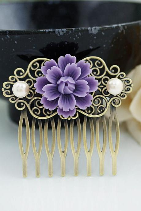 Wedding hair accessories Bridesmaids Gift Wedding Hair Comb Vintage Style Deep Purple Sakura Flower Bridal Hair Comb Bridal Hair accessories
