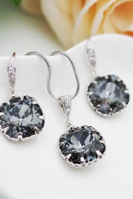 Wedding Jewelry Bridesmaid Jewelry Bridesmaids Gift Silver Night Dark Grey Swarovski Crystal Square drops Bridal Jewelry set