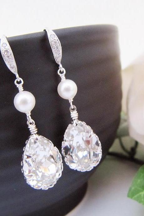Wedding Jewelry Bridesmaid Jewelry Bridal Earrings Bridesmaid Earrings Clear White Swarovski Crystal Tear drops and Pearls Earrings