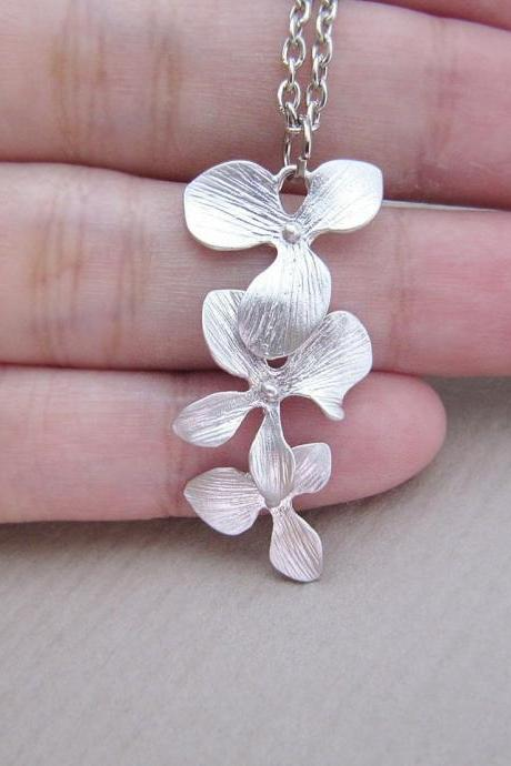 Beautiful Orchid Trio . Matte silver plated triple orchid charm Necklace
