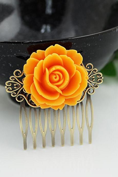 Wedding hair accessories Bridesmaids Gift Wedding Hair Comb Vintage Style Orange Rose Flower Bridal Hair Comb Bridal Hair accessories