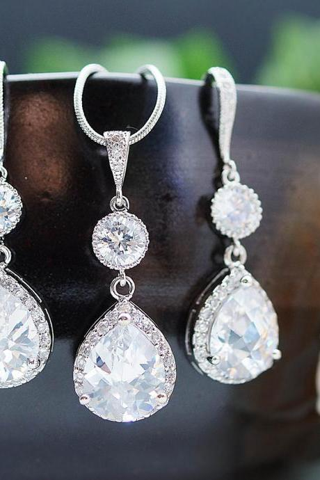 Wedding Jewelry Bridal Jewelry Bridal Necklace Bridal Earrings cubic zirconia connectors and (LUX) cubic zirconia Crystal tear drop