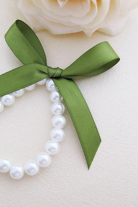 Sweet White Glass Pearls with Ribbon Flower Girls Bracelet - Choose your prefer color